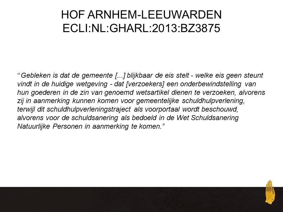 HOF ARNHEM-LEEUWARDEN ECLI:NL:GHARL:2013:BZ3875 Gebleken is dat de gemeente [...] blijkbaar de eis stelt - welke eis geen steunt vindt in de huidige wetgeving - dat [verzoekers] een onderbewindstelling van hun goederen in de zin van genoemd wetsartikel dienen te verzoeken, alvorens zij in aanmerking kunnen komen voor gemeentelijke schuldhulpverlening, terwijl dit schuldhulpverleningstraject als voorportaal wordt beschouwd, alvorens voor de schuldsanering als bedoeld in de Wet Schuldsanering Natuurlijke Personen in aanmerking te komen.