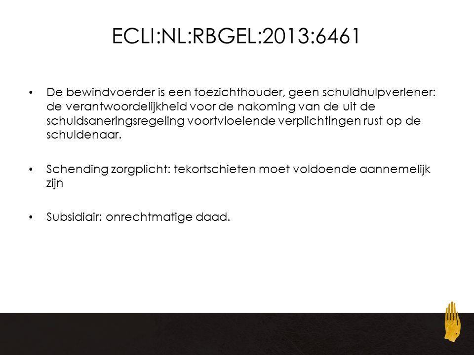 ECLI:NL:RBGEL:2013:6461 De bewindvoerder is een toezichthouder, geen schuldhulpverlener: de verantwoordelijkheid voor de nakoming van de uit de schuldsaneringsregeling voortvloeiende verplichtingen rust op de schuldenaar.
