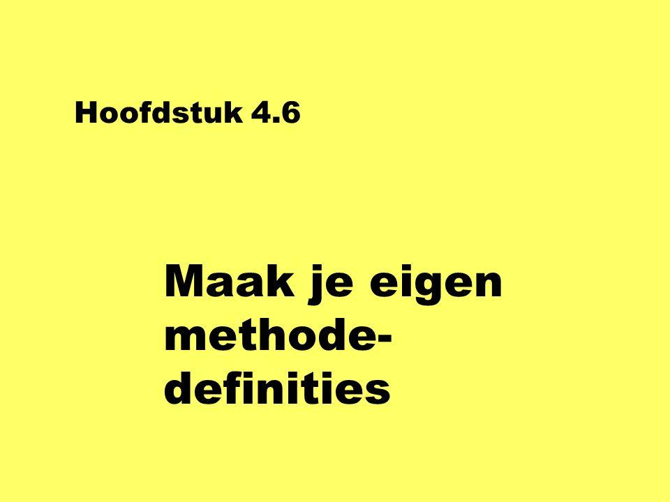 Hoofdstuk 4.6 Maak je eigen methode- definities