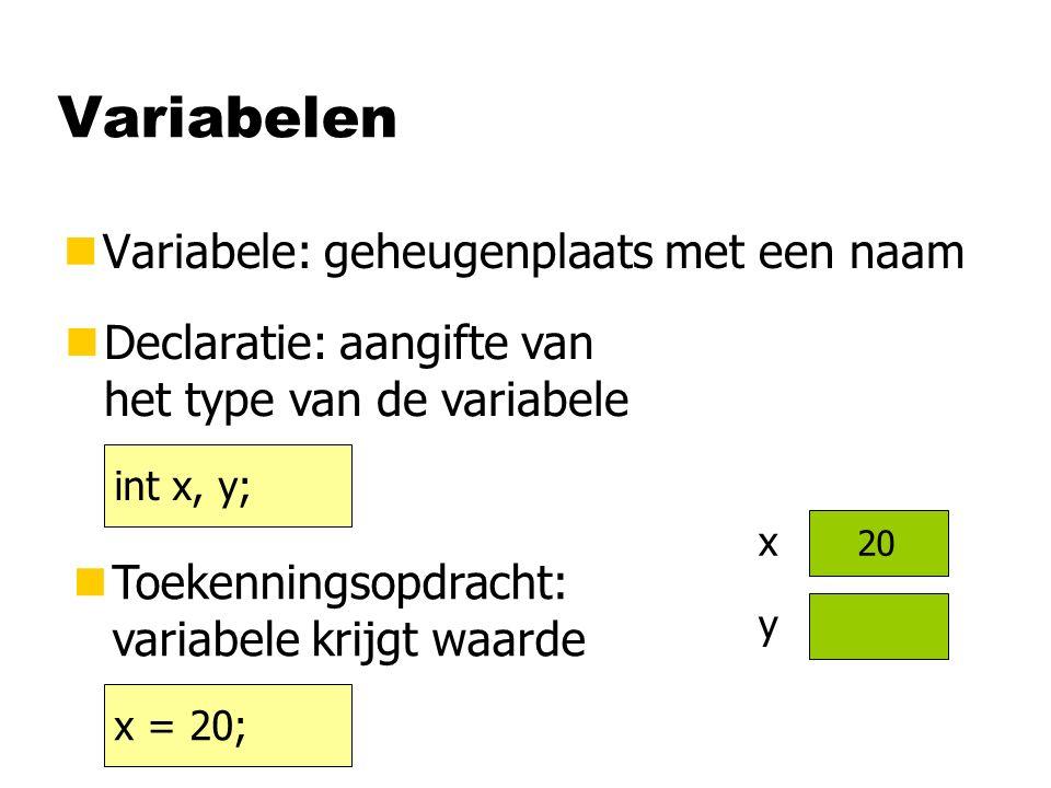 Variabelen nVariabele: geheugenplaats met een naam int x, y; nDeclaratie: aangifte van het type van de variabele nToekenningsopdracht: variabele krijgt waarde x = 20; x y 20