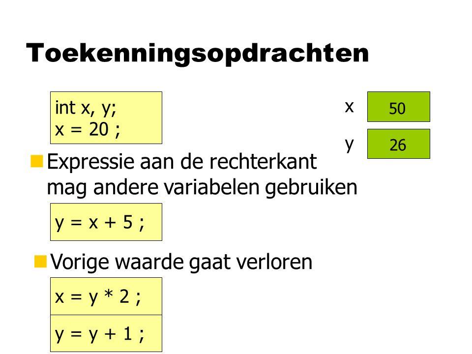 Toekenningsopdrachten y = x + 5 ; nExpressie aan de rechterkant mag andere variabelen gebruiken nVorige waarde gaat verloren x = y * 2 ; x y 20 int x, y; x = 20 ; y = y + 1 ; 25 50 26