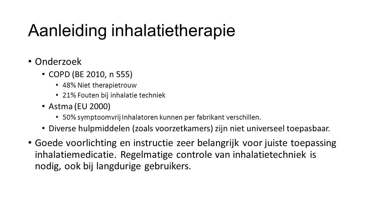 Aanleiding inhalatietherapie Onderzoek COPD (BE 2010, n 555) 48% Niet therapietrouw 21% Fouten bij inhalatie techniek Astma (EU 2000) 50% symptoomvrij