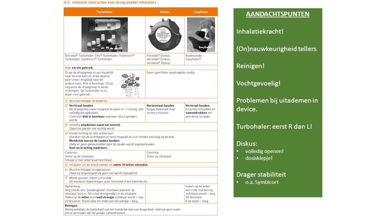 AANDACHTSPUNTEN Inhalatiekracht! (On)nauwkeurigheid tellers Reinigen! Vochtgevoelig! Problemen bij uitademen in device. Turbohaler: eerst R dan L! Dis