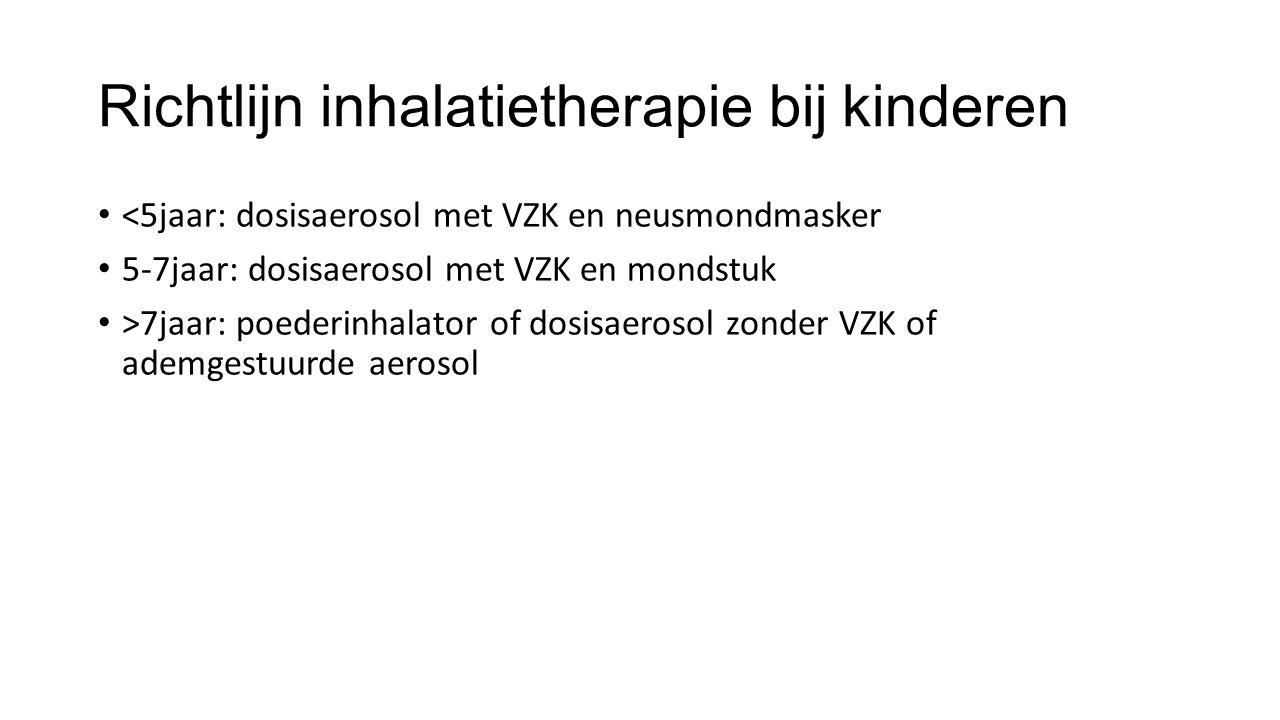 Richtlijn inhalatietherapie bij kinderen <5jaar: dosisaerosol met VZK en neusmondmasker 5-7jaar: dosisaerosol met VZK en mondstuk >7jaar: poederinhala