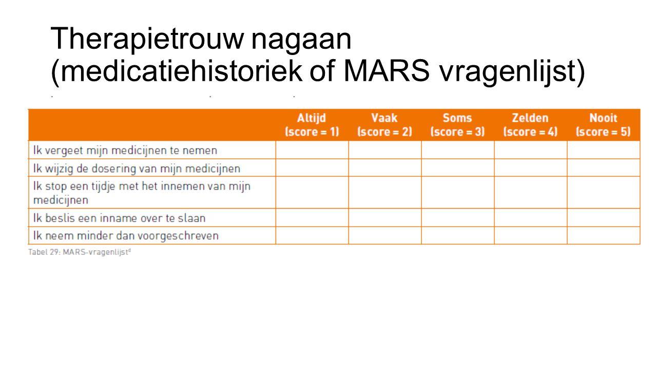 Therapietrouw nagaan (medicatiehistoriek of MARS vragenlijst)