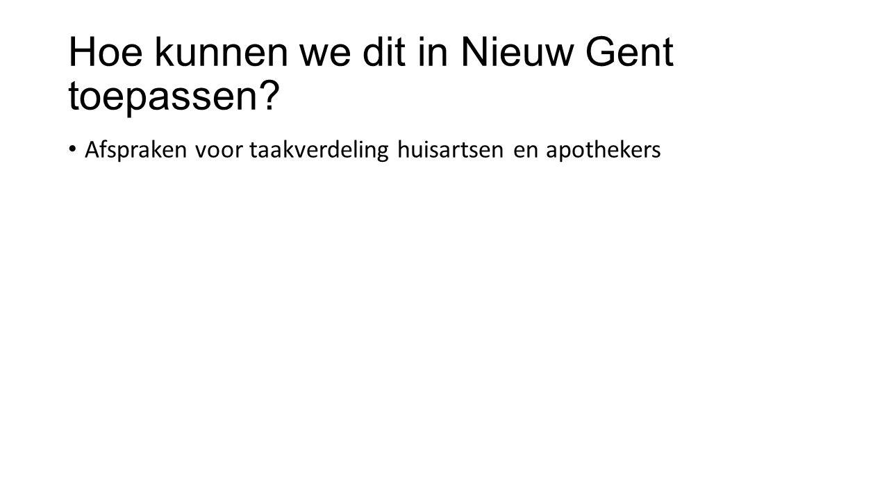 Hoe kunnen we dit in Nieuw Gent toepassen? Afspraken voor taakverdeling huisartsen en apothekers