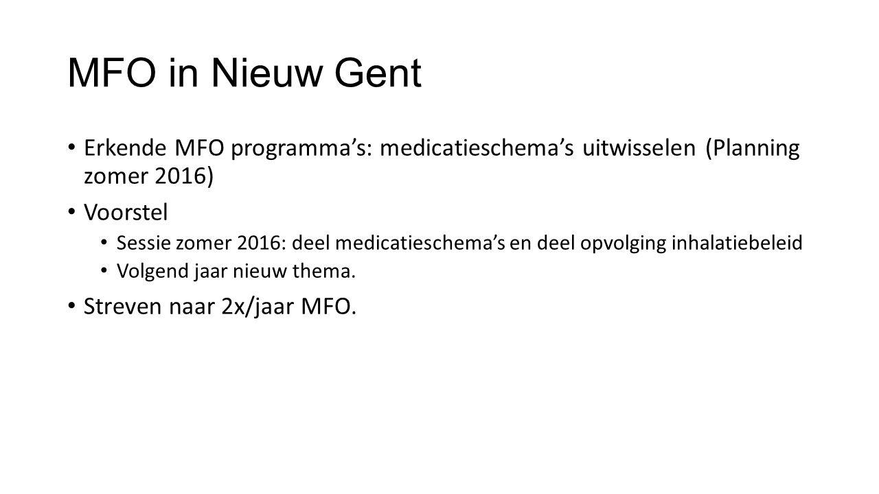 MFO in Nieuw Gent Erkende MFO programma's: medicatieschema's uitwisselen (Planning zomer 2016) Voorstel Sessie zomer 2016: deel medicatieschema's en d