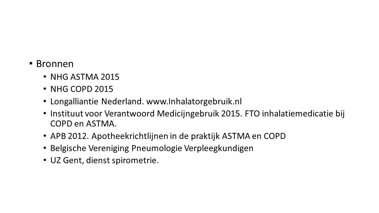 Bronnen NHG ASTMA 2015 NHG COPD 2015 Longalliantie Nederland. www.Inhalatorgebruik.nl Instituut voor Verantwoord Medicijngebruik 2015. FTO inhalatieme