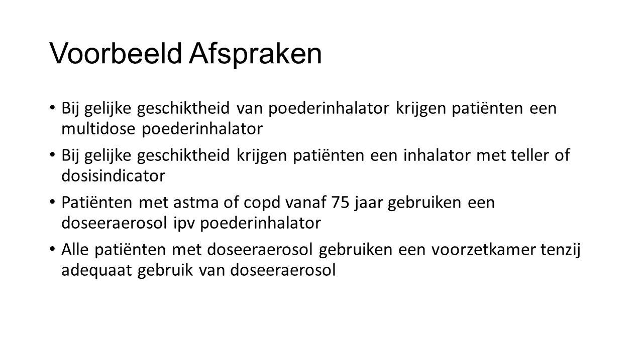 Voorbeeld Afspraken Bij gelijke geschiktheid van poederinhalator krijgen patiënten een multidose poederinhalator Bij gelijke geschiktheid krijgen pati