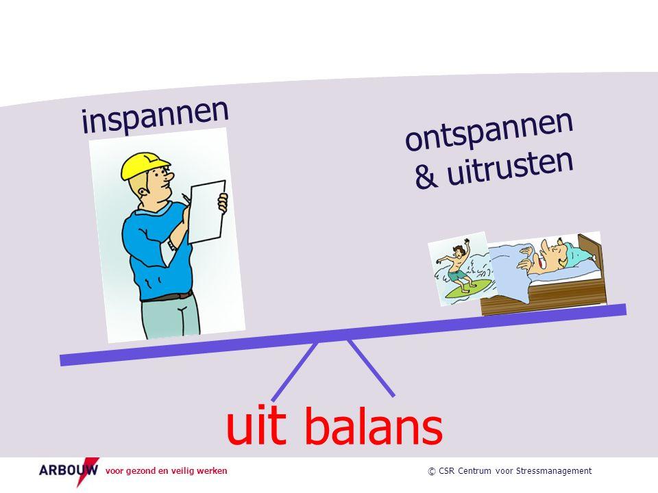 voor gezond en veilig werken inspannen ontspannen & uitrusten uit balans © CSR Centrum voor Stressmanagement