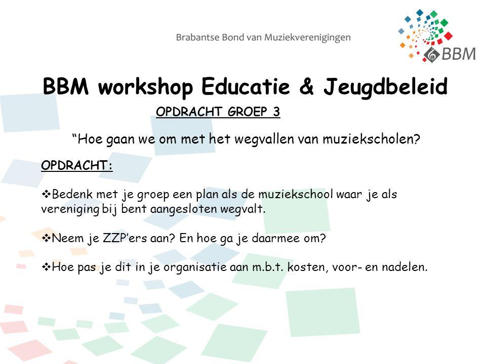 BBM workshop Educatie & Jeugdbeleid OPDRACHT GROEP 3 Hoe gaan we om met het wegvallen van muziekscholen.