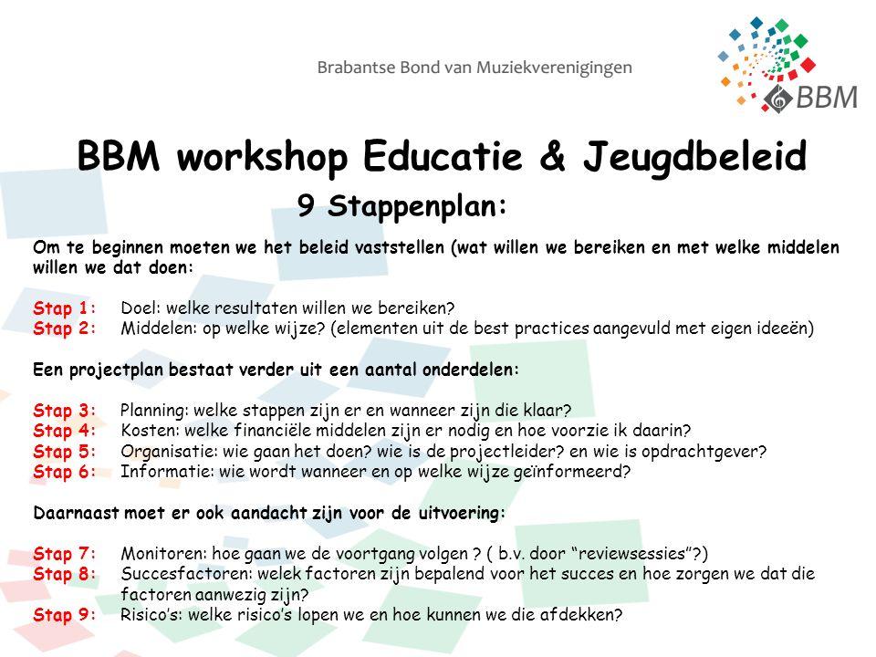 BBM workshop Educatie & Jeugdbeleid 9 Stappenplan: Om te beginnen moeten we het beleid vaststellen (wat willen we bereiken en met welke middelen willen we dat doen: Stap 1:Doel: welke resultaten willen we bereiken.