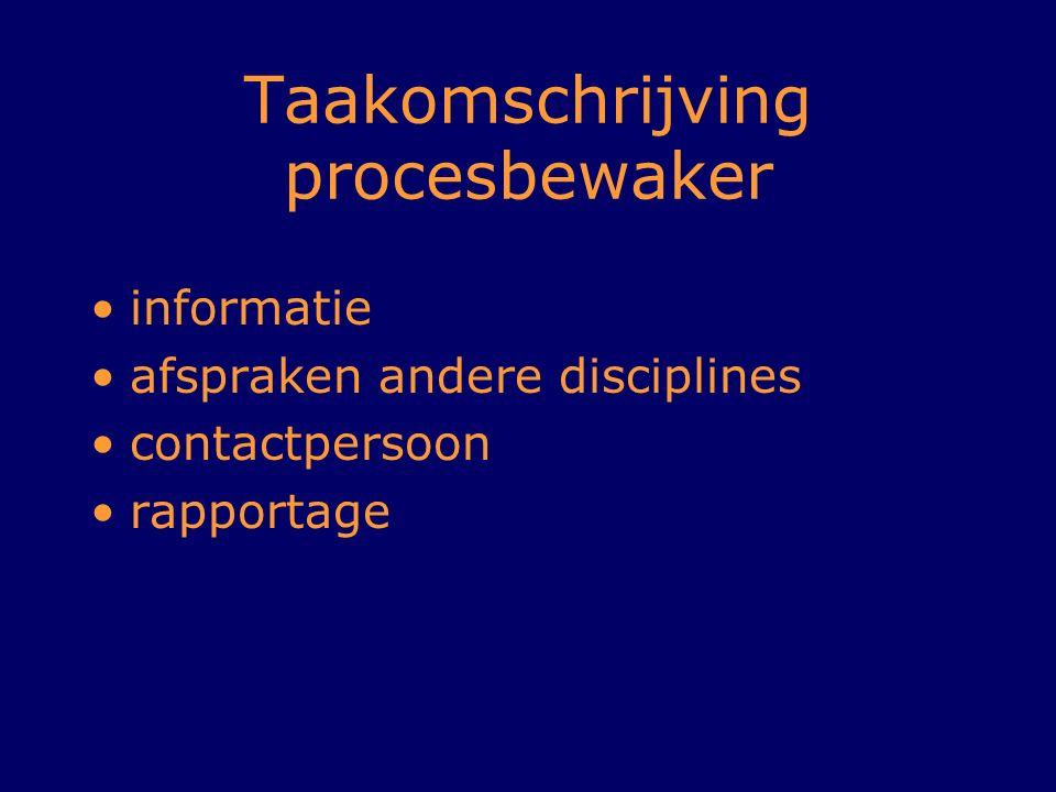 Taakomschrijving procesbewaker informatie afspraken andere disciplines contactpersoon rapportage