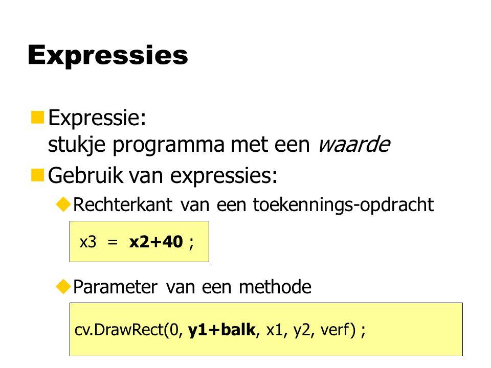 nExpressie: stukje programma met een waarde nGebruik van expressies: uRechterkant van een toekennings-opdracht uParameter van een methode Expressies x3 = x2+40 ; cv.DrawRect(0, y1+balk, x1, y2, verf) ;