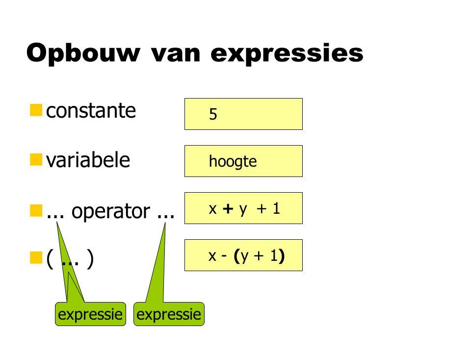expressie Opbouw van expressies nconstante nvariabele n...