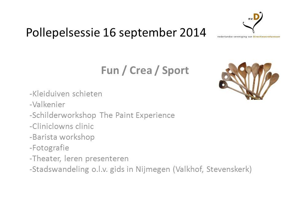 Pollepelsessie 16 september 2014 Fun / Crea / Sport -Kleiduiven schieten -Valkenier -Schilderworkshop The Paint Experience -Cliniclowns clinic -Barist