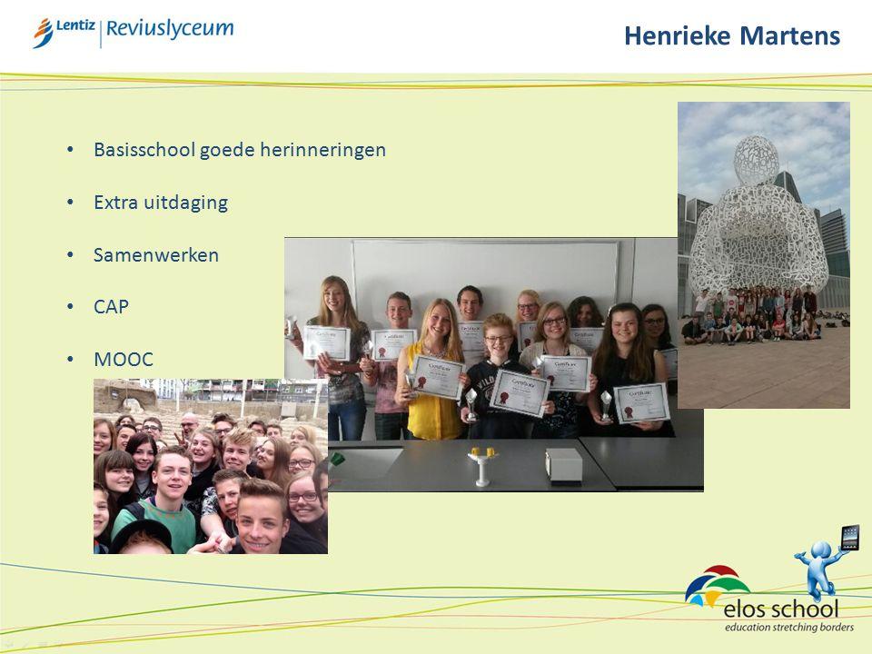 Henrieke Martens Basisschool goede herinneringen Extra uitdaging Samenwerken CAP MOOC