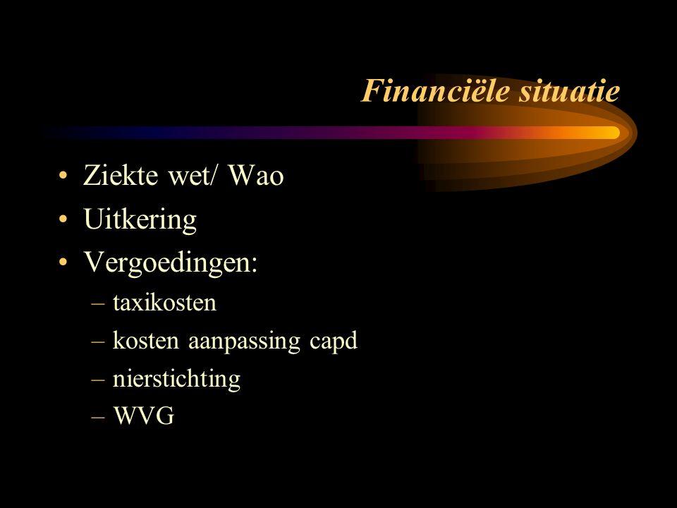Financiële situatie Ziekte wet/ Wao Uitkering Vergoedingen: –taxikosten –kosten aanpassing capd –nierstichting –WVG