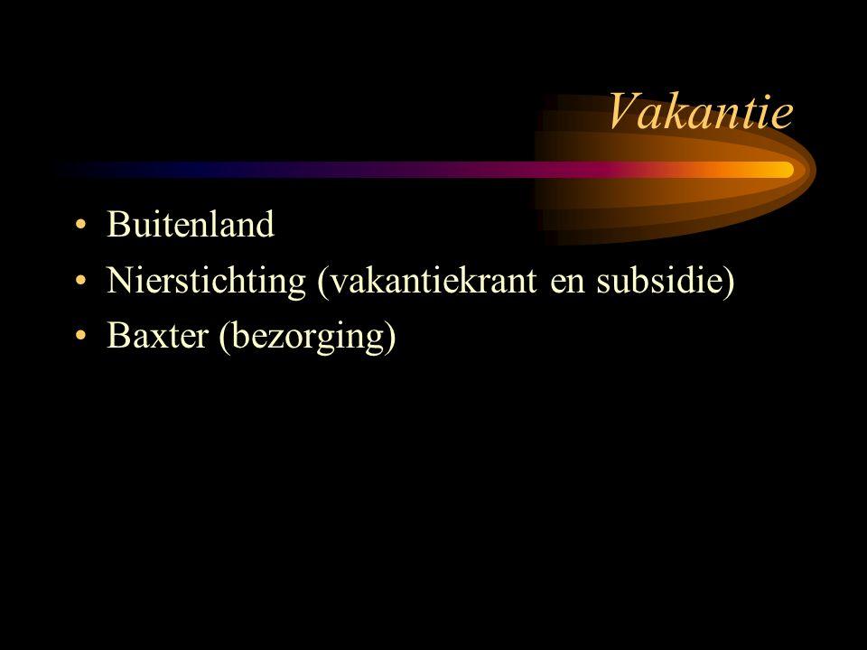 Vakantie Buitenland Nierstichting (vakantiekrant en subsidie) Baxter (bezorging)