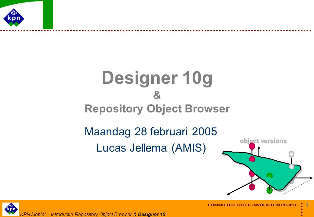 2 KPN Mobiel – Introductie Repository Object Browser & Designer 10 Agenda Designer 10g  Analyse: Entity Relationship Modeling  Design: Database Design  Build: Server Generation & Design Capture Oracle SCM (Software Configuration Management)  Files en Folders  Versiebeheer Check Out/Check In Compare en Merge