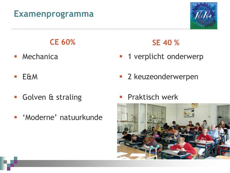 Examenprogramma CE 60%  Mechanica  E&M  Golven & straling  'Moderne' natuurkunde SE 40 %  1 verplicht onderwerp  2 keuzeonderwerpen  Praktisch werk