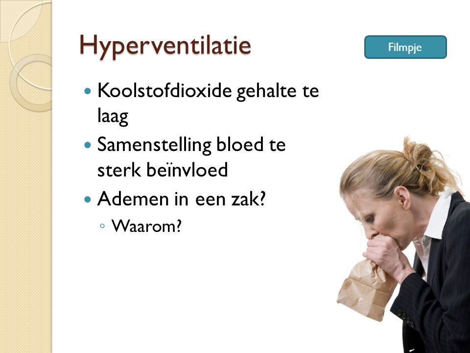 Hyperventilatie Koolstofdioxide gehalte te laag Samenstelling bloed te sterk beïnvloed Ademen in een zak? ◦ Waarom? Filmpje