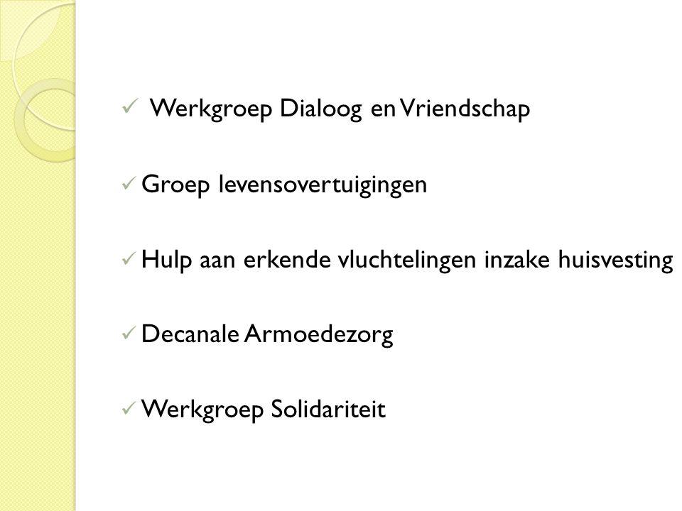 Werkgroep Dialoog en Vriendschap Groep levensovertuigingen Hulp aan erkende vluchtelingen inzake huisvesting Decanale Armoedezorg Werkgroep Solidariteit