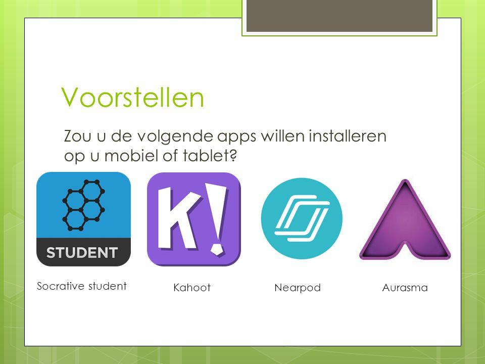 Voorstellen Zou u de volgende apps willen installeren op u mobiel of tablet? Socrative student Kahoot NearpodAurasma