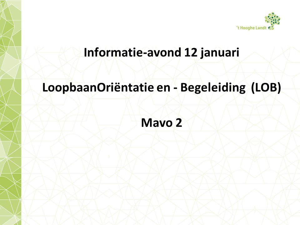 Informatie-avond 12 januari LoopbaanOriëntatie en - Begeleiding (LOB) Mavo 2
