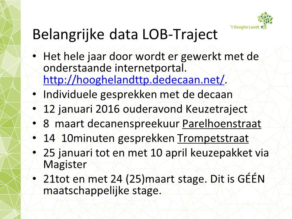 Belangrijke data LOB-Traject Het hele jaar door wordt er gewerkt met de onderstaande internetportal.