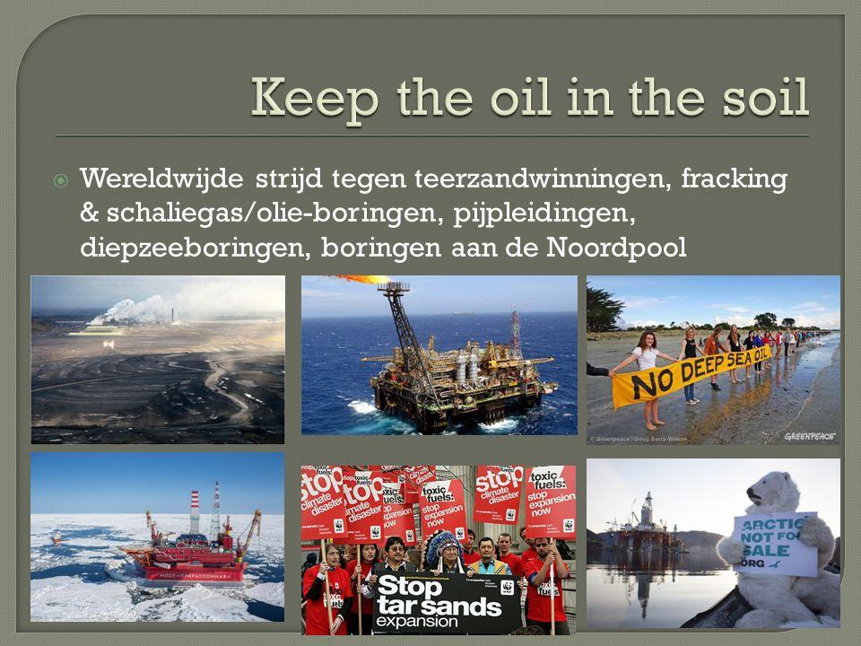  Wereldwijde strijd tegen teerzandwinningen, fracking & schaliegas/olie-boringen, pijpleidingen, diepzeeboringen, boringen aan de Noordpool