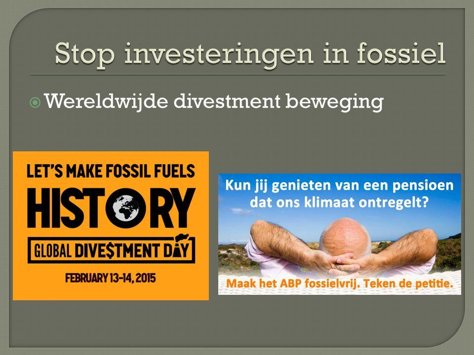  Wereldwijde divestment beweging