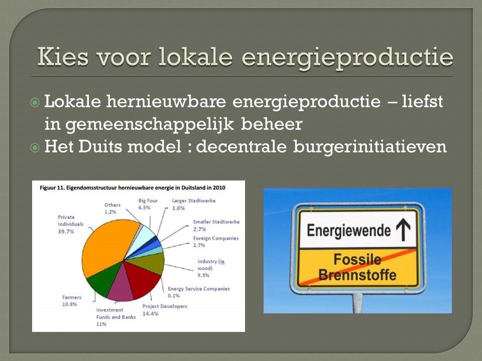  Lokale hernieuwbare energieproductie – liefst in gemeenschappelijk beheer  Het Duits model : decentrale burgerinitiatieven