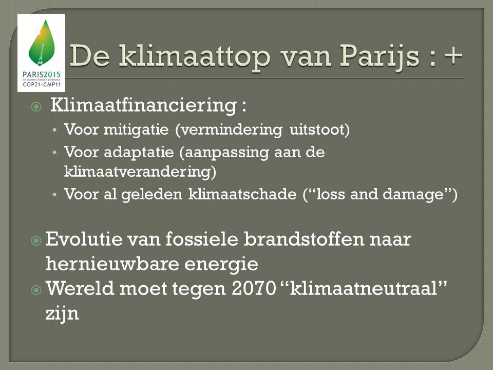  Klimaatfinanciering : Voor mitigatie (vermindering uitstoot) Voor adaptatie (aanpassing aan de klimaatverandering) Voor al geleden klimaatschade ( loss and damage )  Evolutie van fossiele brandstoffen naar hernieuwbare energie  Wereld moet tegen 2070 klimaatneutraal zijn