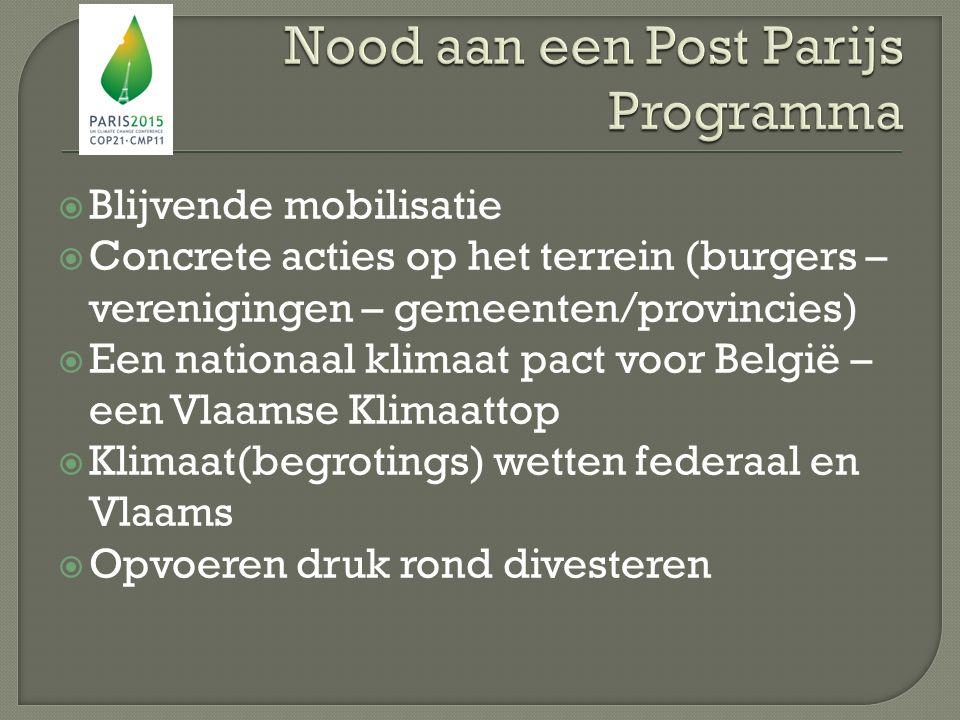  Blijvende mobilisatie  Concrete acties op het terrein (burgers – verenigingen – gemeenten/provincies)  Een nationaal klimaat pact voor België – ee