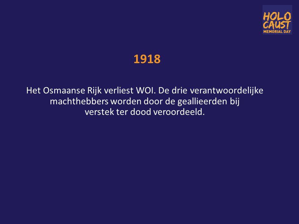 1918 Het Osmaanse Rijk verliest WOI.