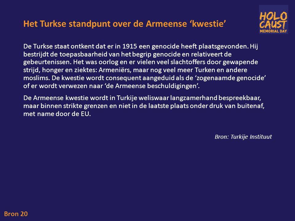 Het Turkse standpunt over de Armeense 'kwestie' De Turkse staat ontkent dat er in 1915 een genocide heeft plaatsgevonden.