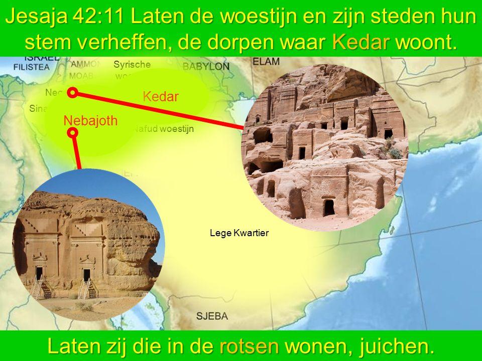Lege Kwartier Nafud woestijn Syrische woestijn Sinai Negev Jesaja 42:11 Laten de woestijn en zijn steden hun stem verheffen, de dorpen waar Kedar woon