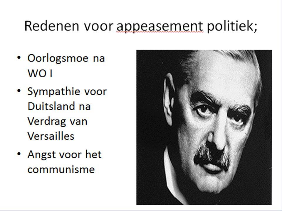 Om de vrede te bewaren werd de conferentie van München gehouden - - Sudetenland (onderdeel van Tsecho- Slokwaije) mocht worden ingelijfd -Geen verdere