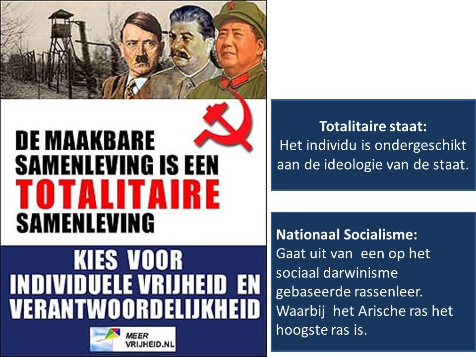 Totalitaire staat: Het individu is ondergeschikt aan de ideologie van de staat. Nationaal Socialisme: Gaat uit van een op het sociaal darwinisme gebas