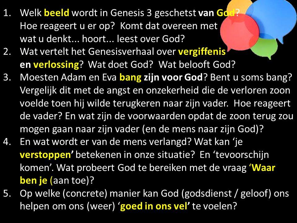 1.Welk beeld wordt in Genesis 3 geschetst van God? Hoe reageert u er op? Komt dat overeen met wat u denkt... hoort... leest over God? 2.Wat vertelt he