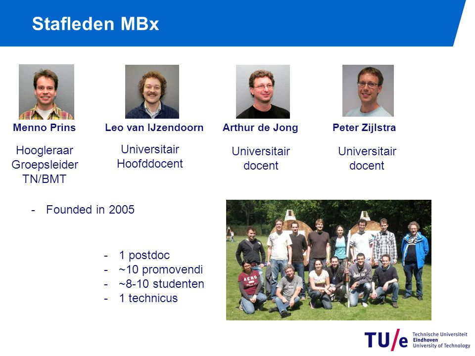 Stafleden MBx Menno Prins Leo van IJzendoorn Arthur de Jong Peter Zijlstra Hoogleraar Groepsleider TN/BMT Universitair Hoofddocent Universitair docent Universitair docent -1 postdoc -~10 promovendi -~8-10 studenten -1 technicus -Founded in 2005