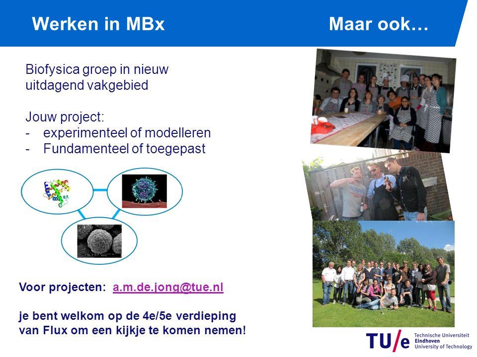 Werken in MBx Biofysica groep in nieuw uitdagend vakgebied Jouw project: -experimenteel of modelleren -Fundamenteel of toegepast Voor projecten: a.m.de.jong@tue.nla.m.de.jong@tue.nl je bent welkom op de 4e/5e verdieping van Flux om een kijkje te komen nemen.