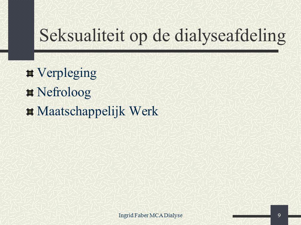 Ingrid Faber MCA Dialyse9 Seksualiteit op de dialyseafdeling Verpleging Nefroloog Maatschappelijk Werk