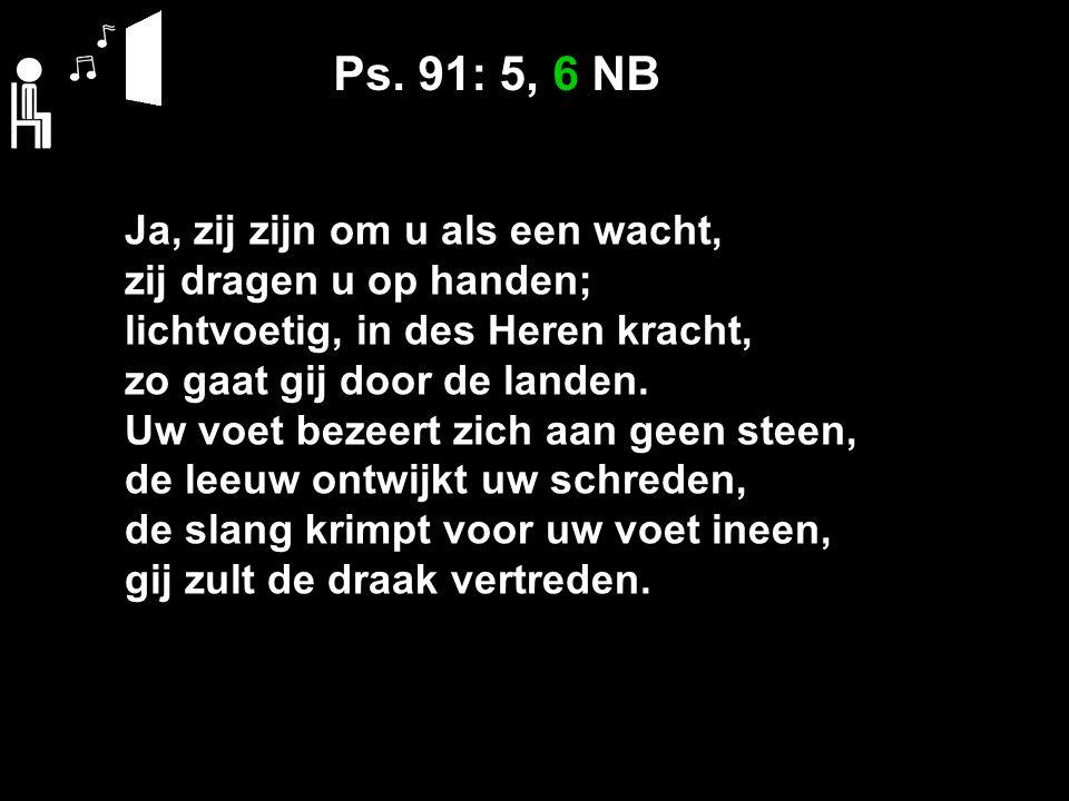 Ps. 91: 5, 6 NB Ja, zij zijn om u als een wacht, zij dragen u op handen; lichtvoetig, in des Heren kracht, zo gaat gij door de landen. Uw voet bezeert