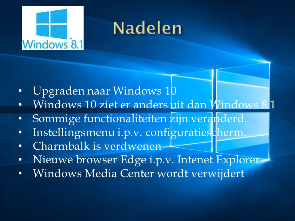 Upgraden naar Windows 10 Windows 10 ziet er anders uit dan Windows 8.1 Sommige functionaliteiten zijn veranderd.