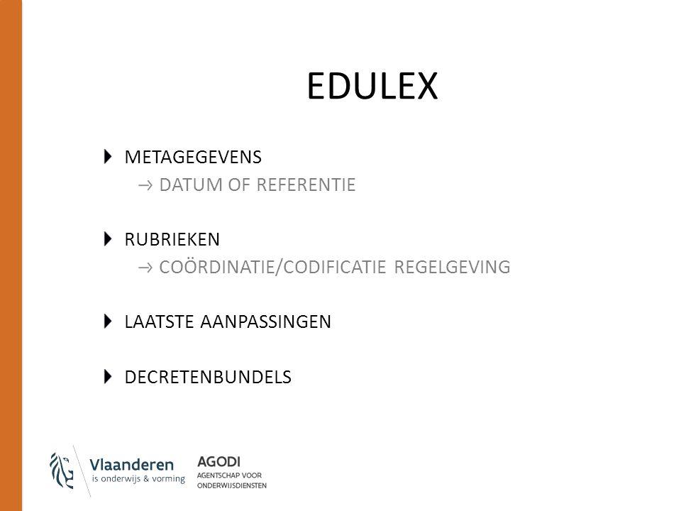 EDULEX METAGEGEVENS DATUM OF REFERENTIE RUBRIEKEN COÖRDINATIE/CODIFICATIE REGELGEVING LAATSTE AANPASSINGEN DECRETENBUNDELS
