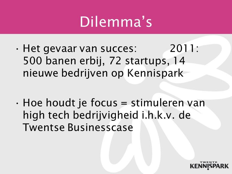 Dilemma's Het gevaar van succes: 2011: 500 banen erbij, 72 startups, 14 nieuwe bedrijven op Kennispark Hoe houdt je focus = stimuleren van high tech bedrijvigheid i.h.k.v.