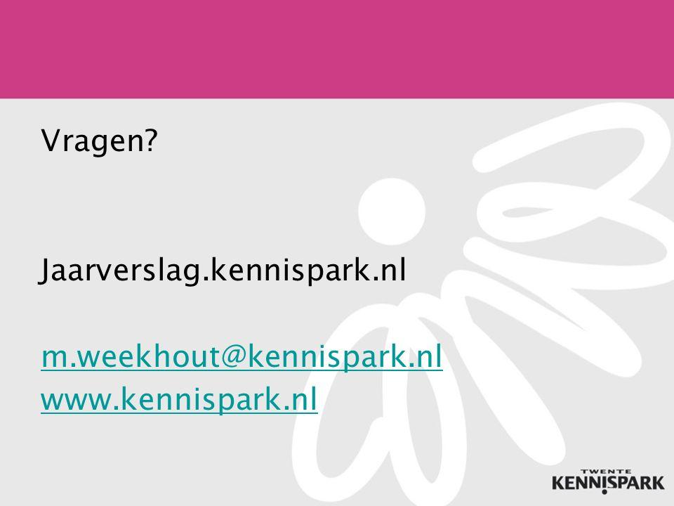 Vragen Jaarverslag.kennispark.nl m.weekhout@kennispark.nl www.kennispark.nl