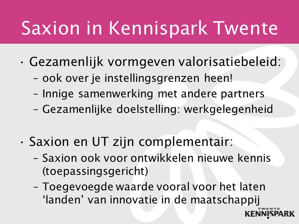 Saxion in Kennispark Twente Gezamenlijk vormgeven valorisatiebeleid: –ook over je instellingsgrenzen heen.